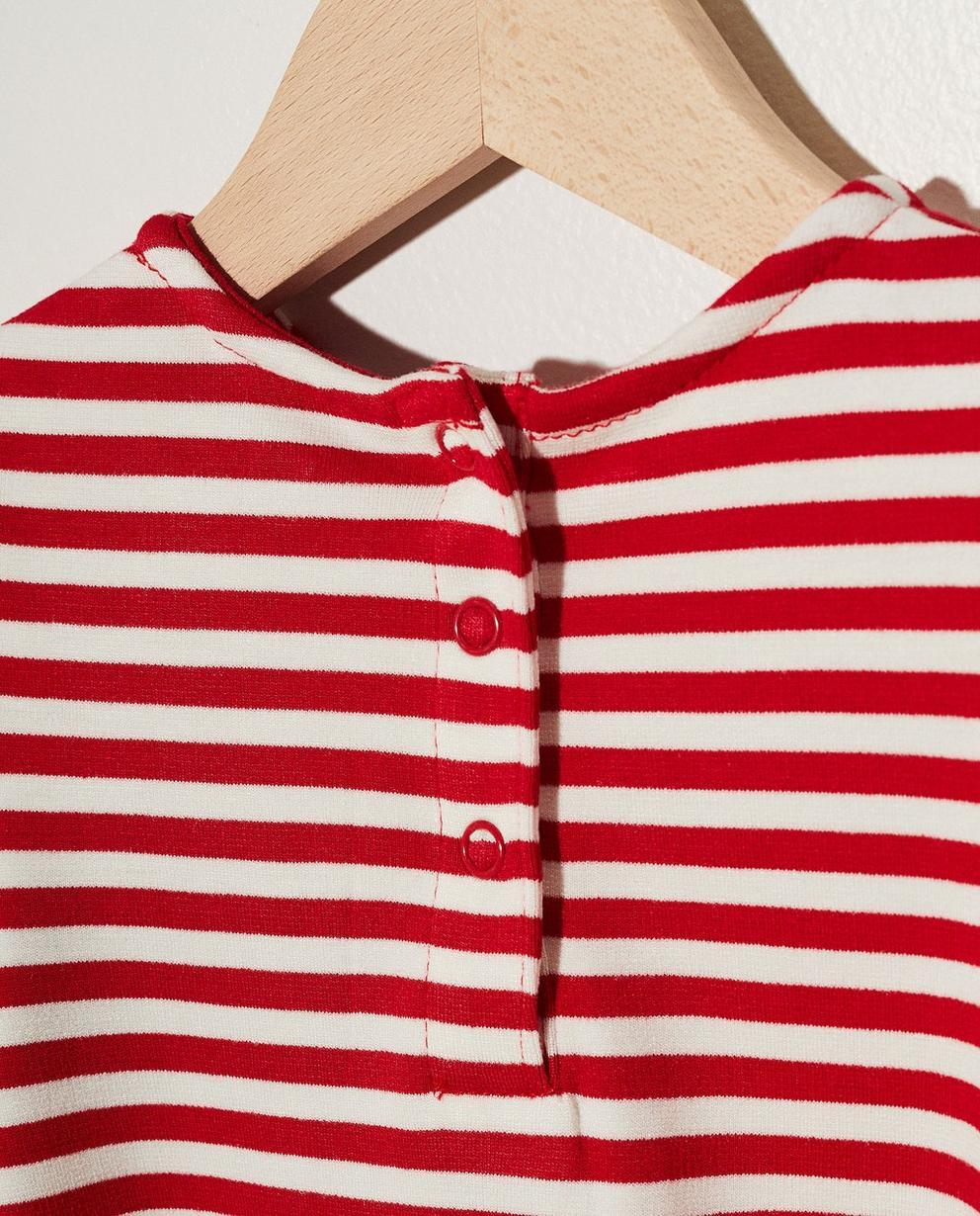 Kleider - Pflaume - Gestreiftes Kleidchen mit Rüschen